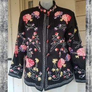 vtg Asian Embroidered Soutache shadow box Jacket